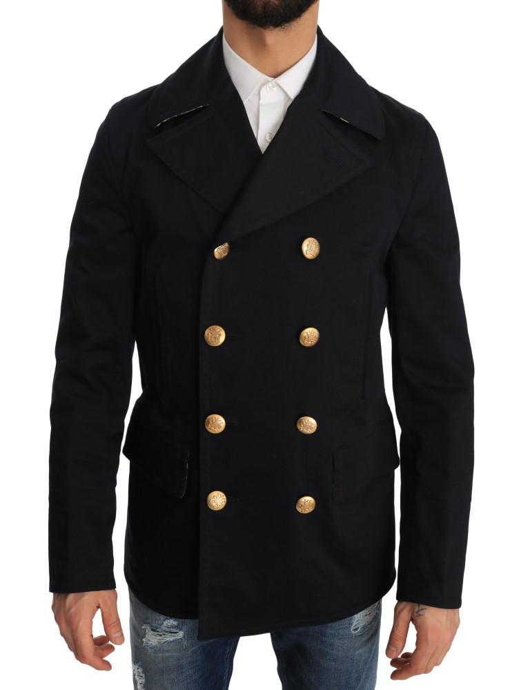 Dolce & Gabbana Men's Trench Cotton Stretch Jacket Blue JKT1172 - IT48   M
