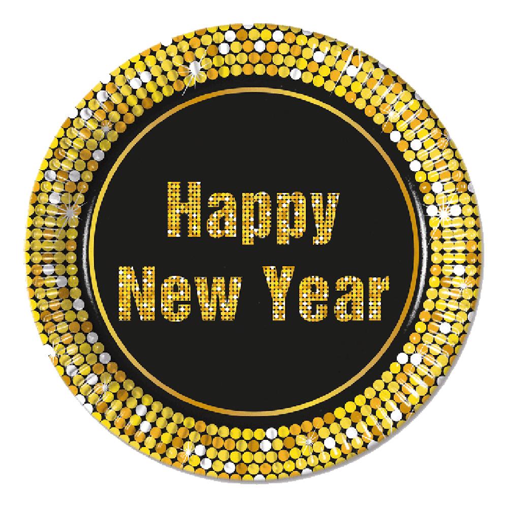Papperstallrikar Happy New Year Guld/Svart - 8-pack