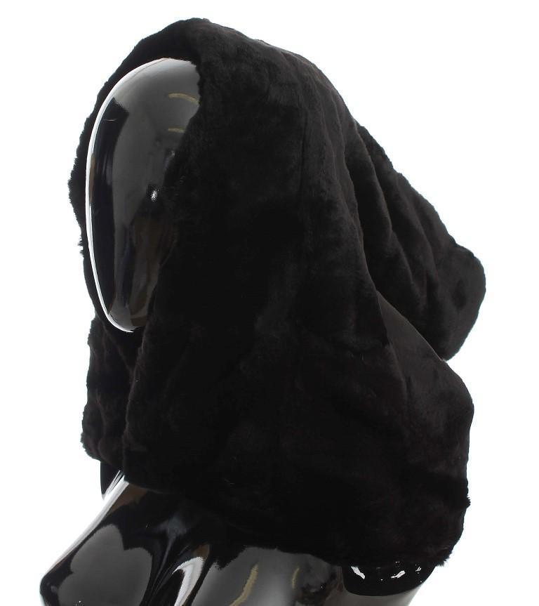 Dolce & Gabbana Women's Weasel Fur Crochet Hood Scarf Hat Black MS811