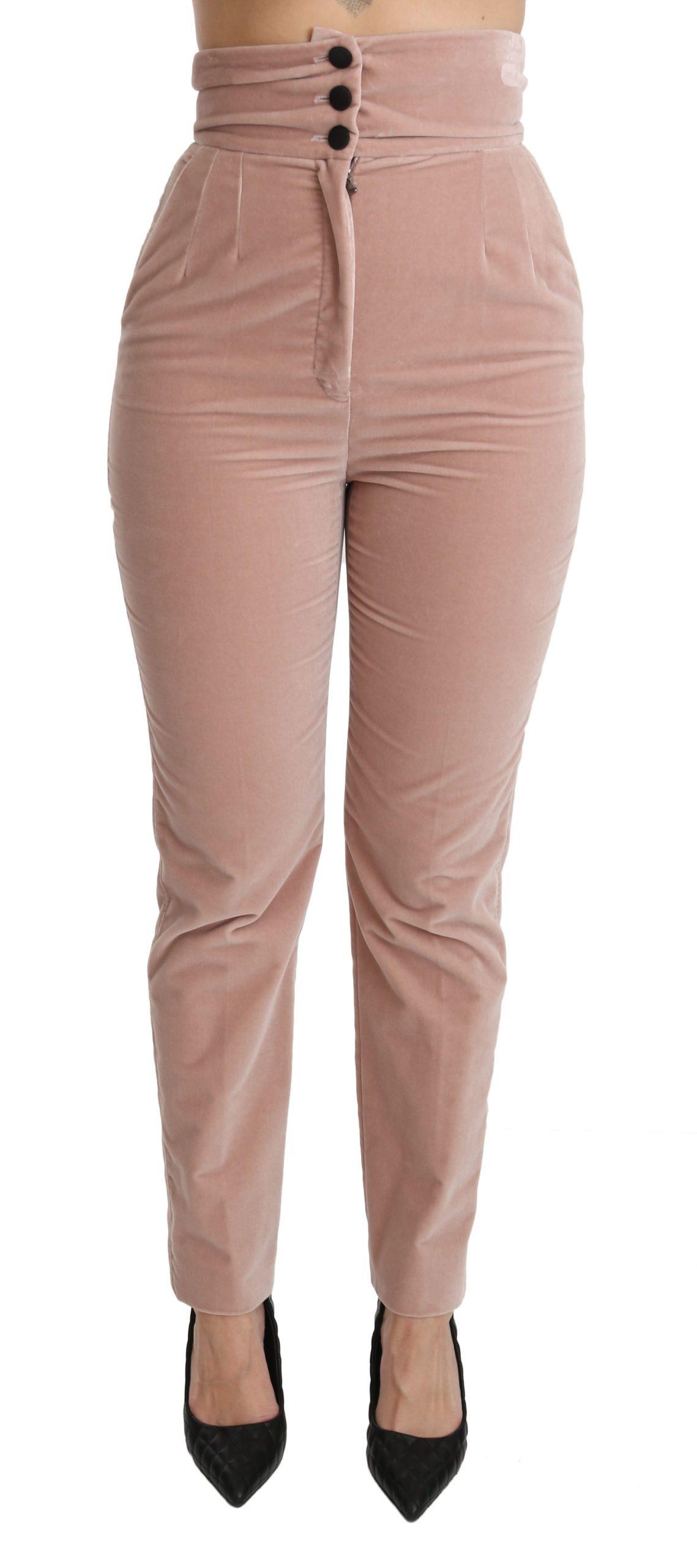 Dolce & Gabbana Women's Slim Fit High Waist Cotton Trouser Pink PAN70851 - IT40|S