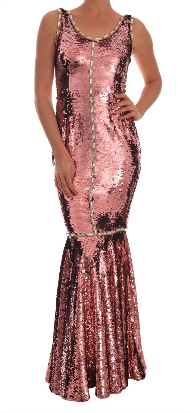 Dolce & Gabbana Women's Crystal Sequined Sheath Dress Pink DR1407 - IT40|S