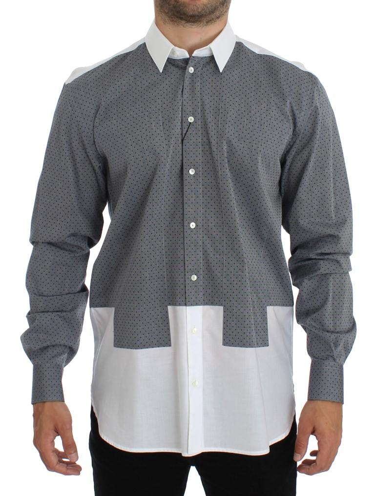 Dolce & Gabbana Men's Dotted Cotton Casual Shirt White SIG14056 - 38