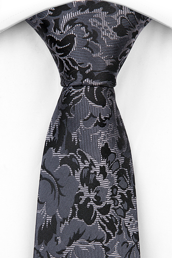 Silke Slips, Blommönster i ljusgrått, grått och svart, Grå, Blomster