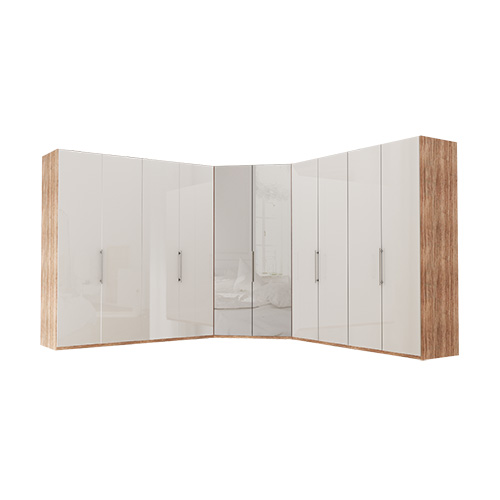Garderobe Atlanta - Lys rustikk eik 200 + walk-in + 200, 216 cm