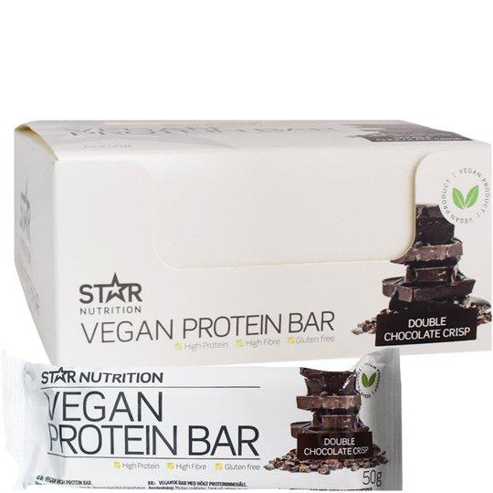 """Hel Låda Proteinbars """"Vegan Double Chocolate Crisp"""" 12 x 50g - 81% rabatt"""