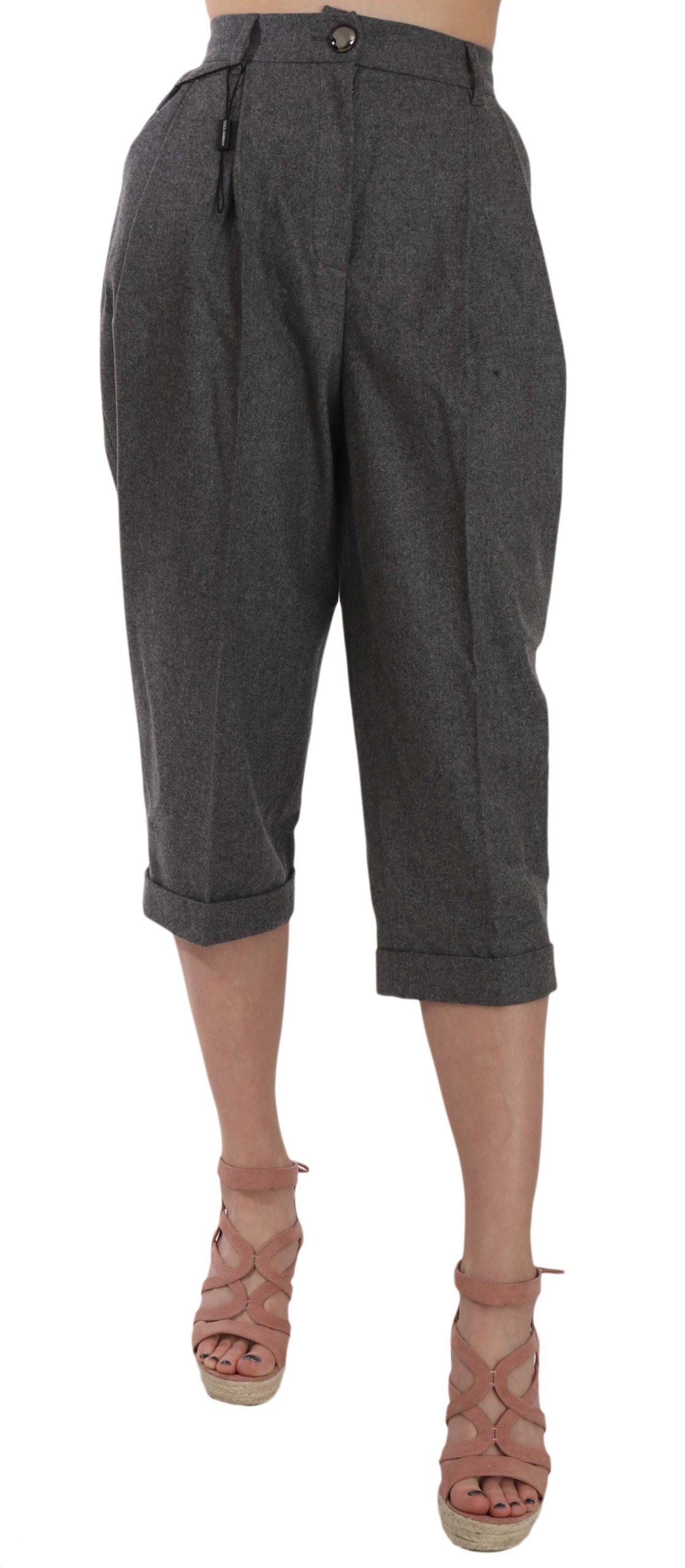 Dolce & Gabbana Women's Cropped Trouser Pleated Trouser Gray PAN70005 - IT36|XXS