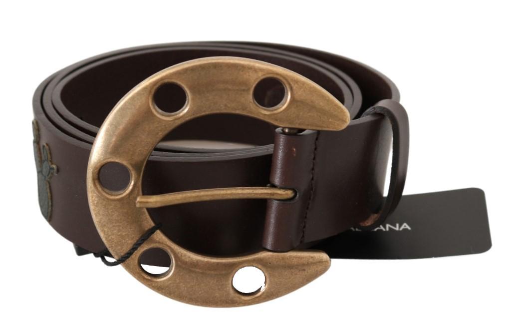 Dolce & Gabbana Men's Leather Cowboy Horseshoe Buckle Belt Black BEL60492 - 105 cm / 42 Inches