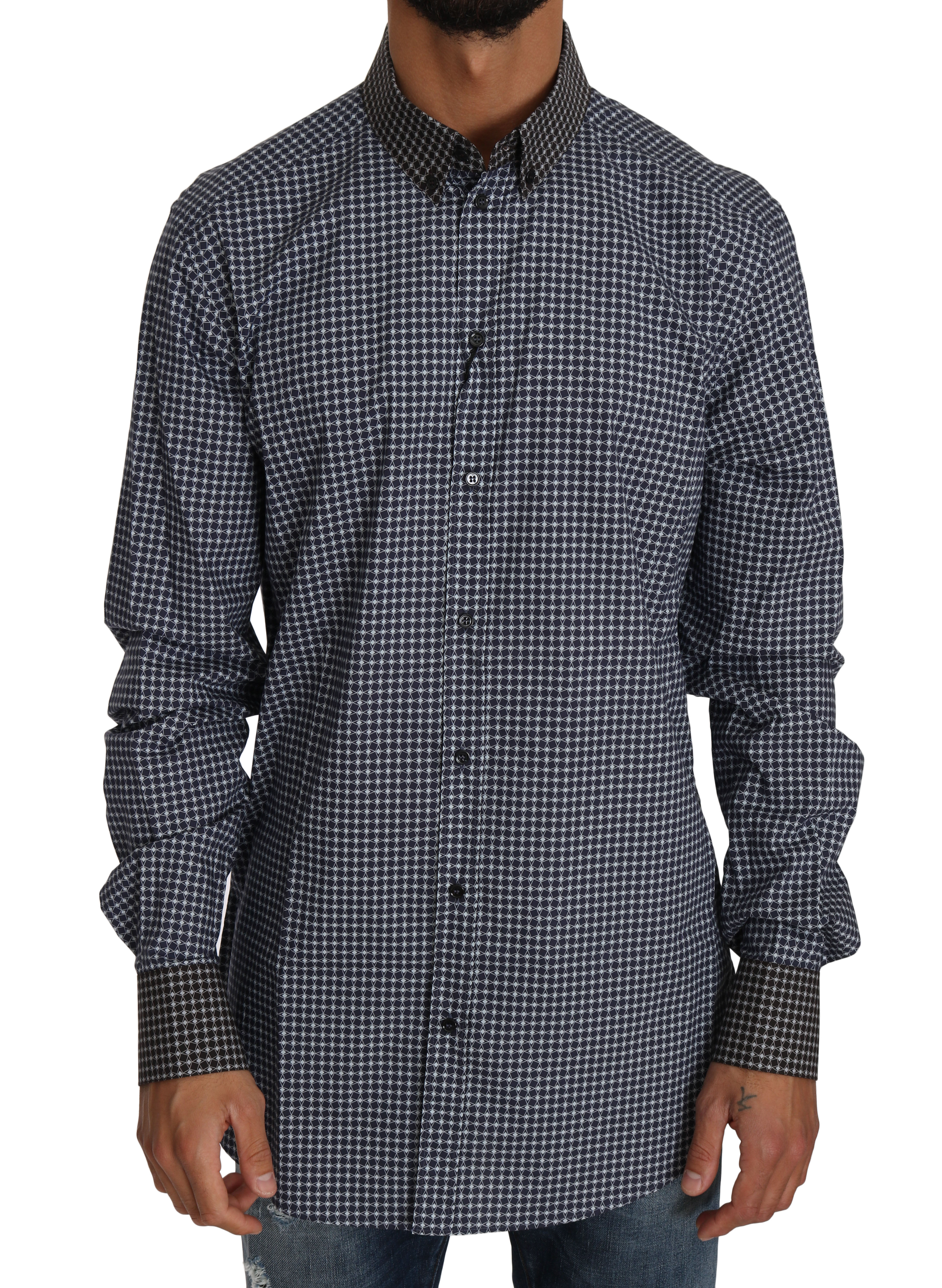 Dolce & Gabbana Men's GOLD Patterned Formal Shirt Blue TSH2580 - IT39 | S