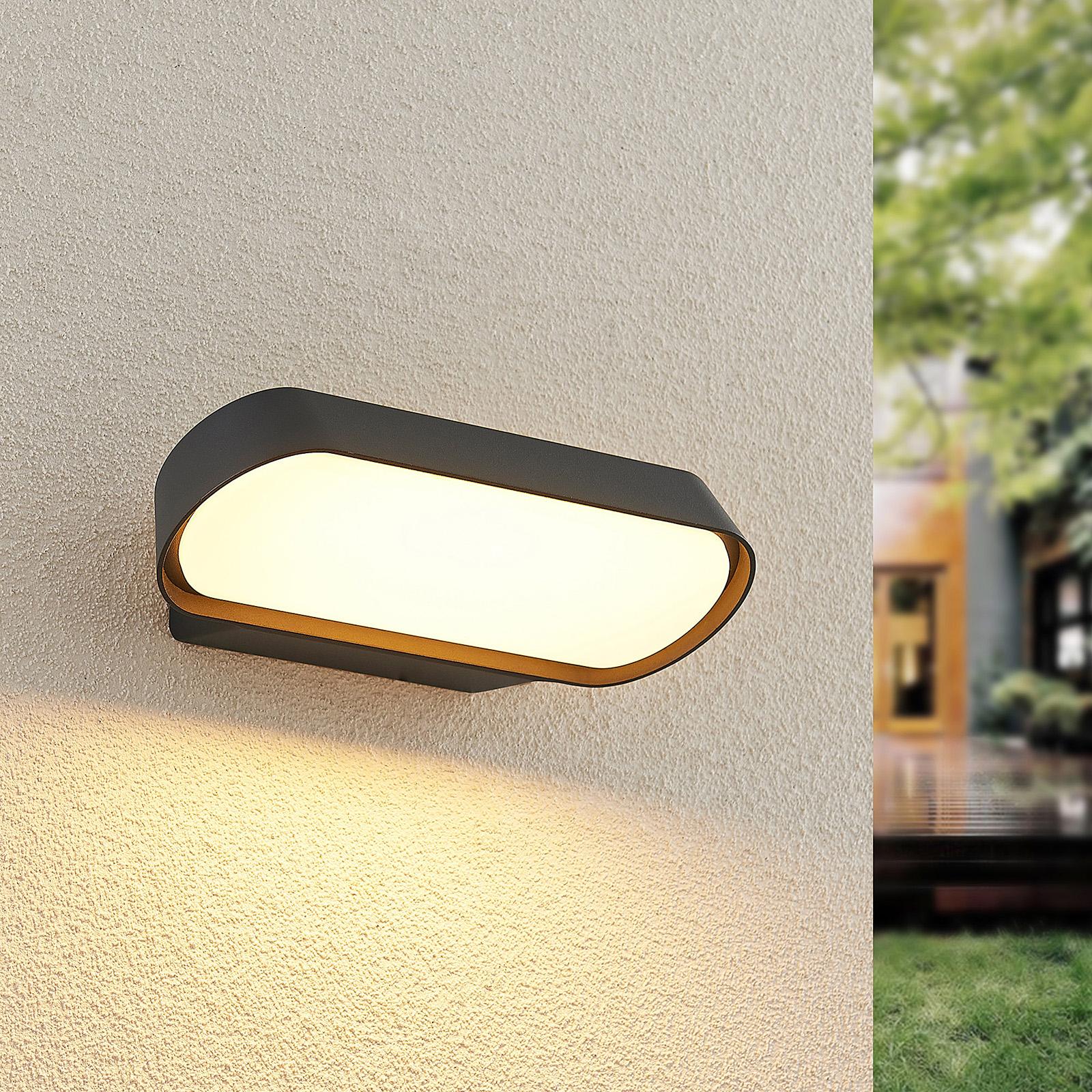 Lucande Badriya -LED-ulkoseinälamppu, leveys 25cm