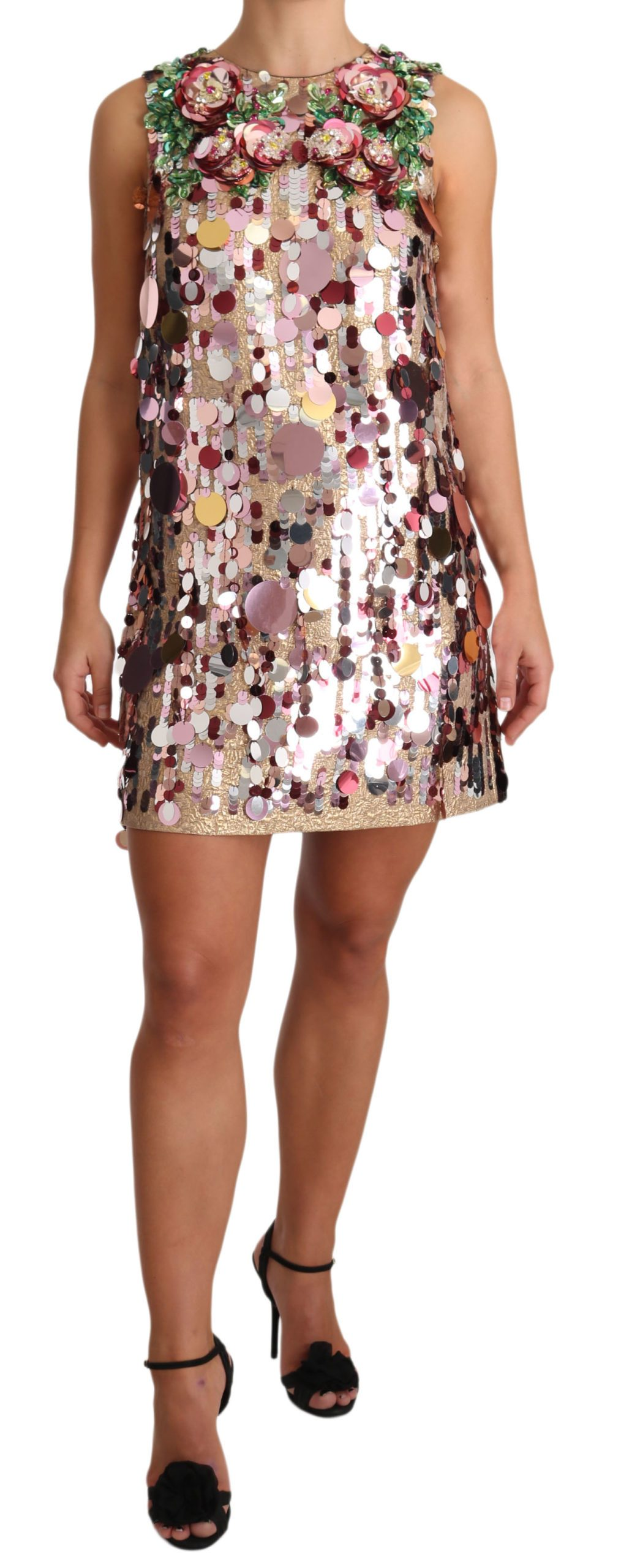 Dolce & Gabbana Women's Floral Sequined Crystal Dress Pink DR1918 - IT40|S