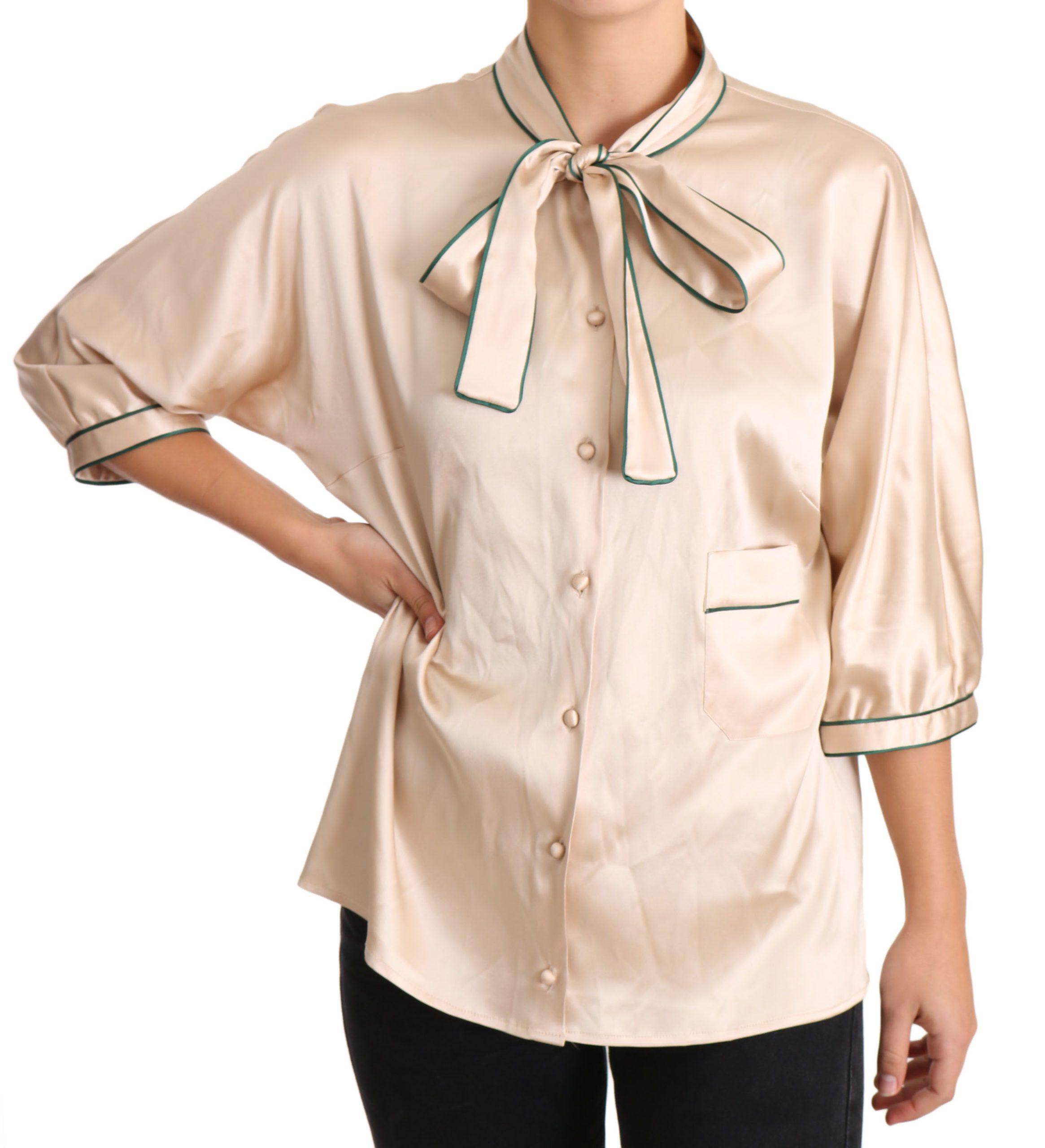 Dolce & Gabbana Women's Ribbon Silk Stretch Top Beige TSH3372 - IT48|XXL