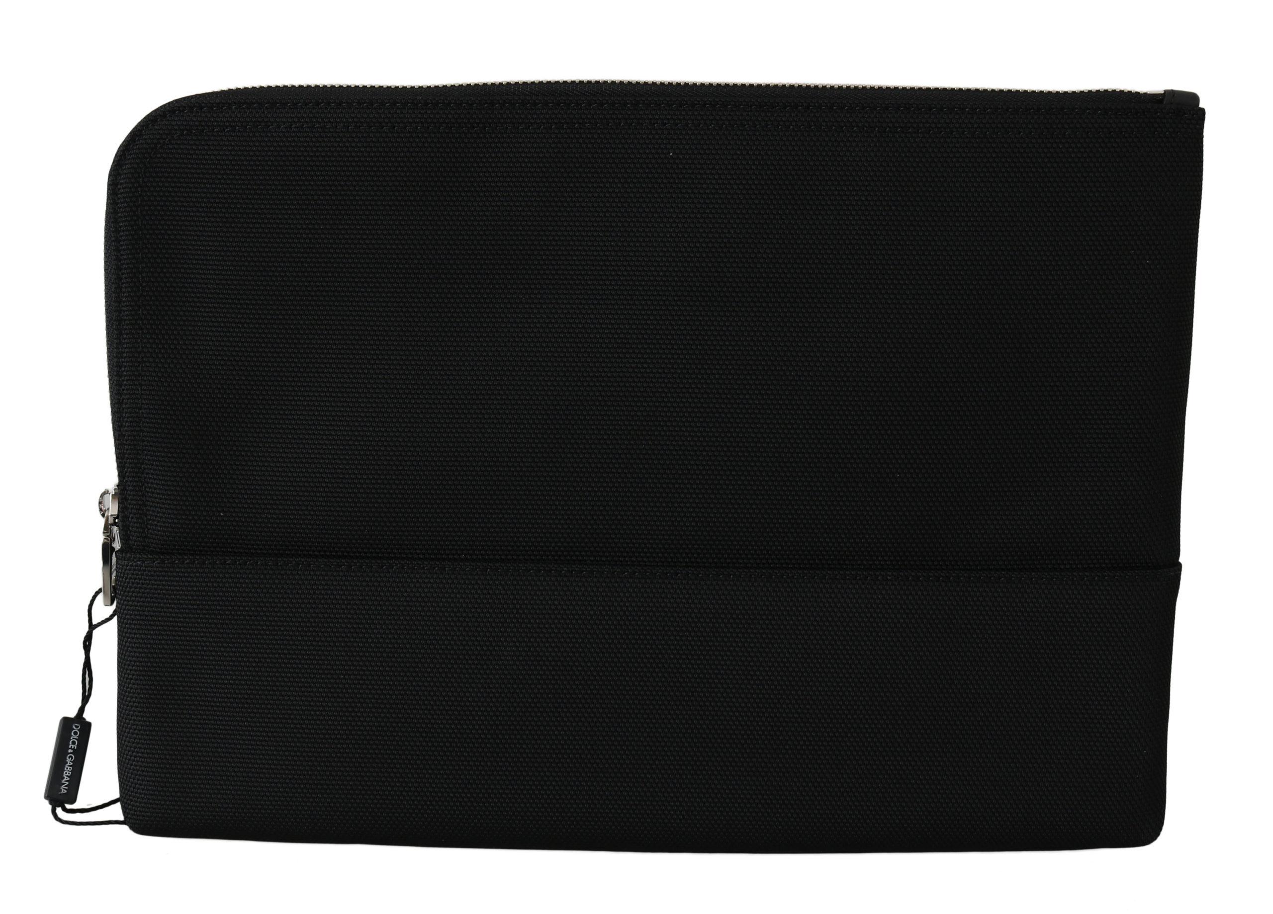 Dolce & Gabbana Men's Zipper Logo Clutch Hand Pouch Messenger Bag Black VA8552