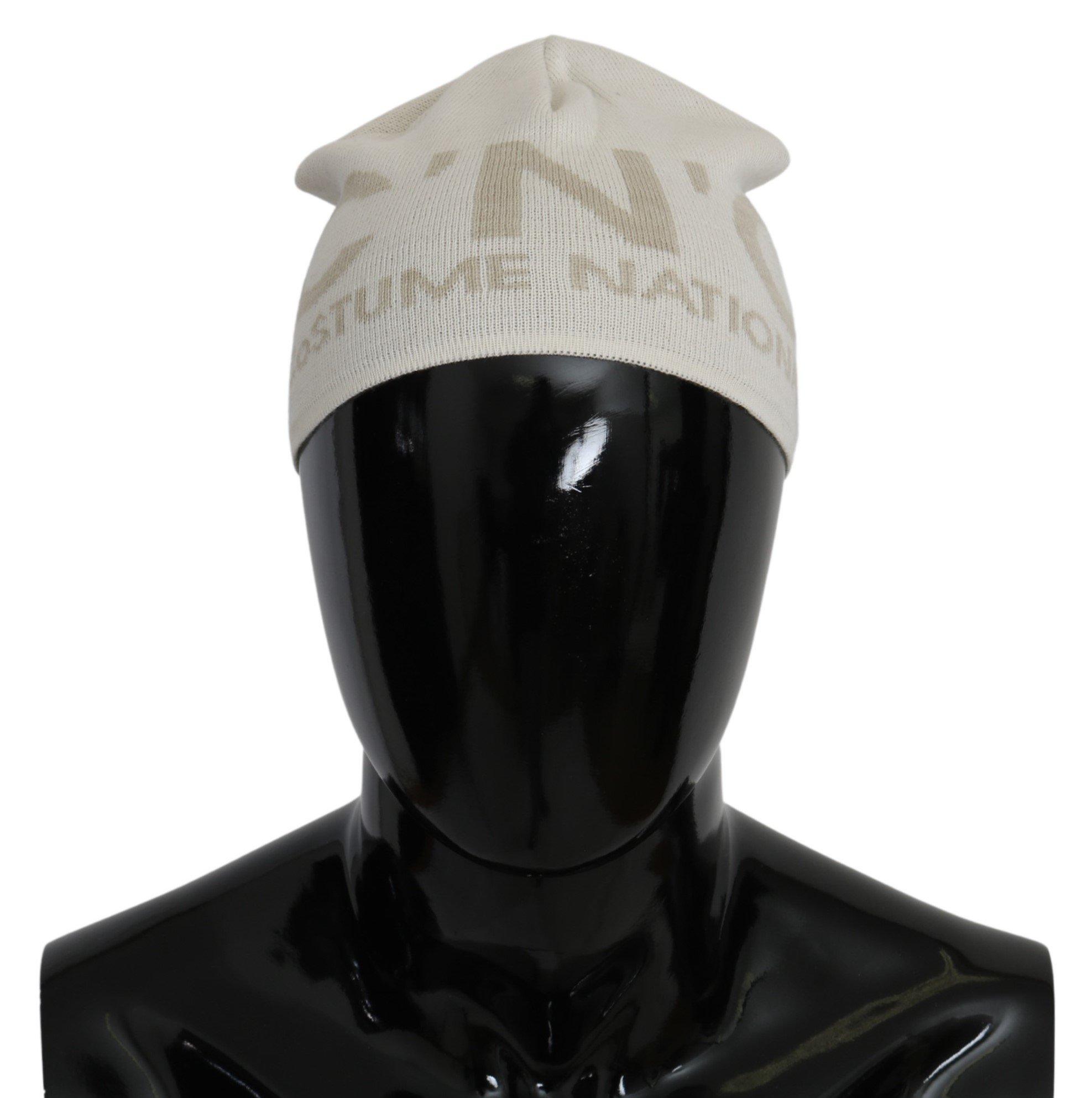 Costume National Men's Wool Branded Hat White HAT9042
