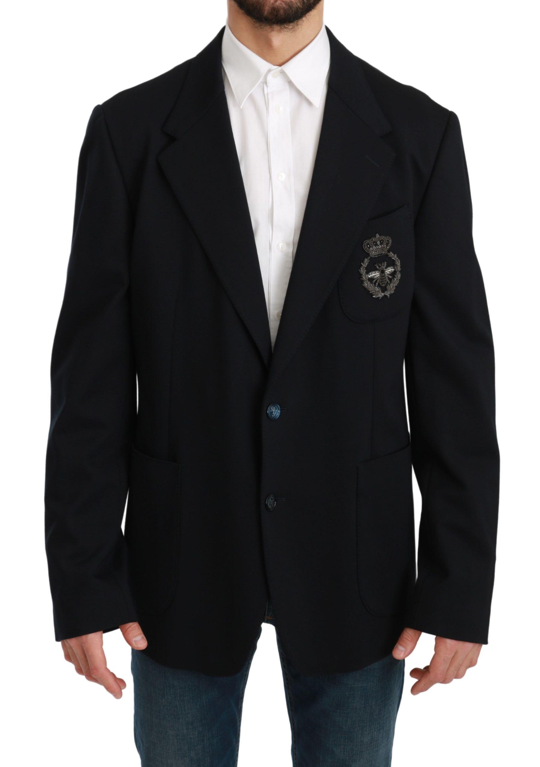 Dolce & Gabbana Men's Crown Bee Slim Fit Coat Blazer Blue KOS1729 - IT56 | XXL
