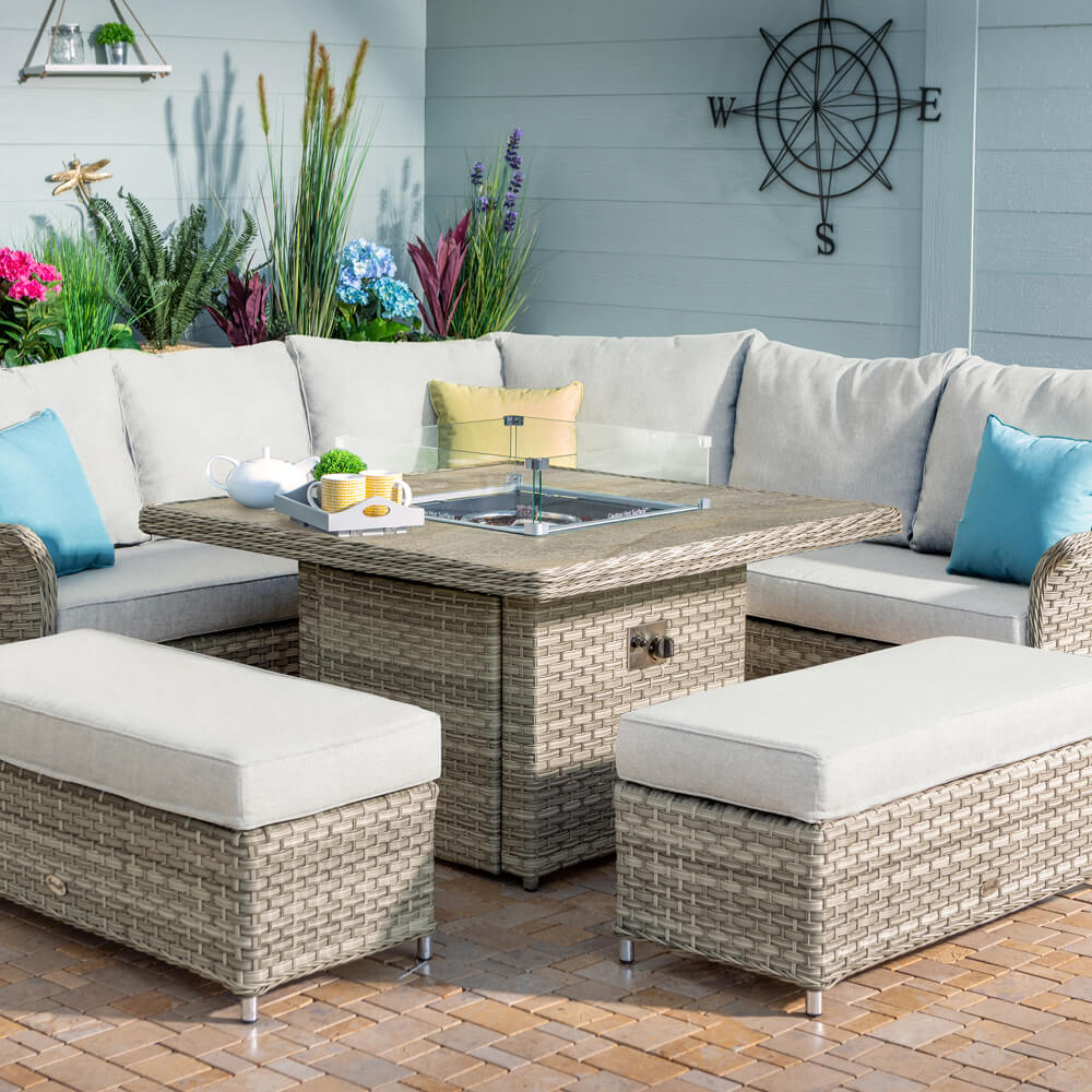 2021 Hartman Heritage Grand Square Tuscan Fire Pit Table Casual Dining Set – Beech/Dove