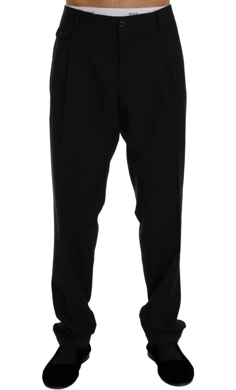 Dolce & Gabbana Men's Striped Wool Stretch Trouser Blue PAN60358 - IT52   XL