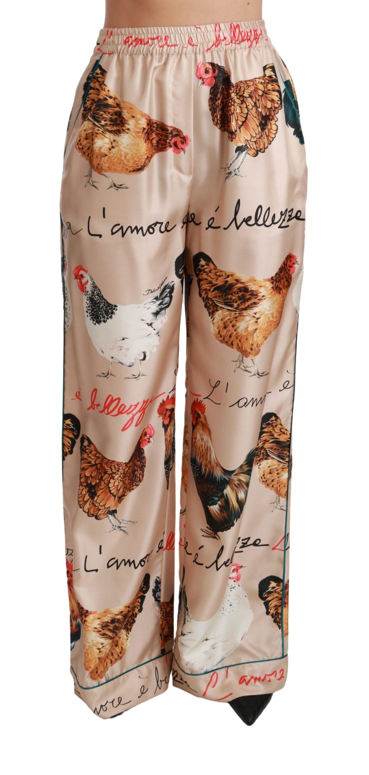 Dolce & Gabbana Women's Hen Chicken Silk Pajama Trouser Beige PAN70814 - IT36 | XS