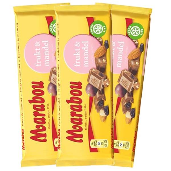Marabou Frukt Mandel 100g x 3 st