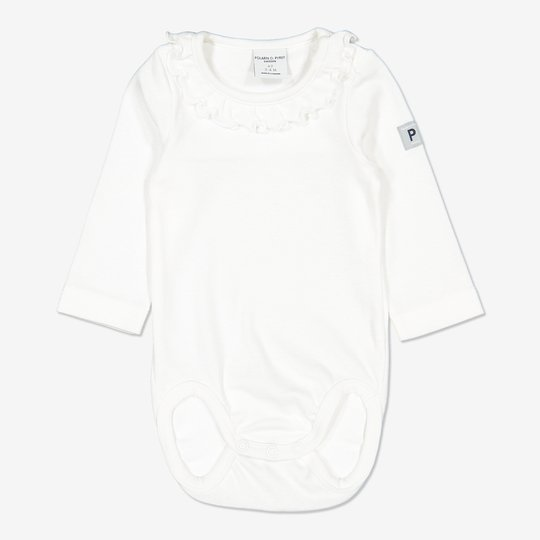 Body med rysjekrage baby hvit