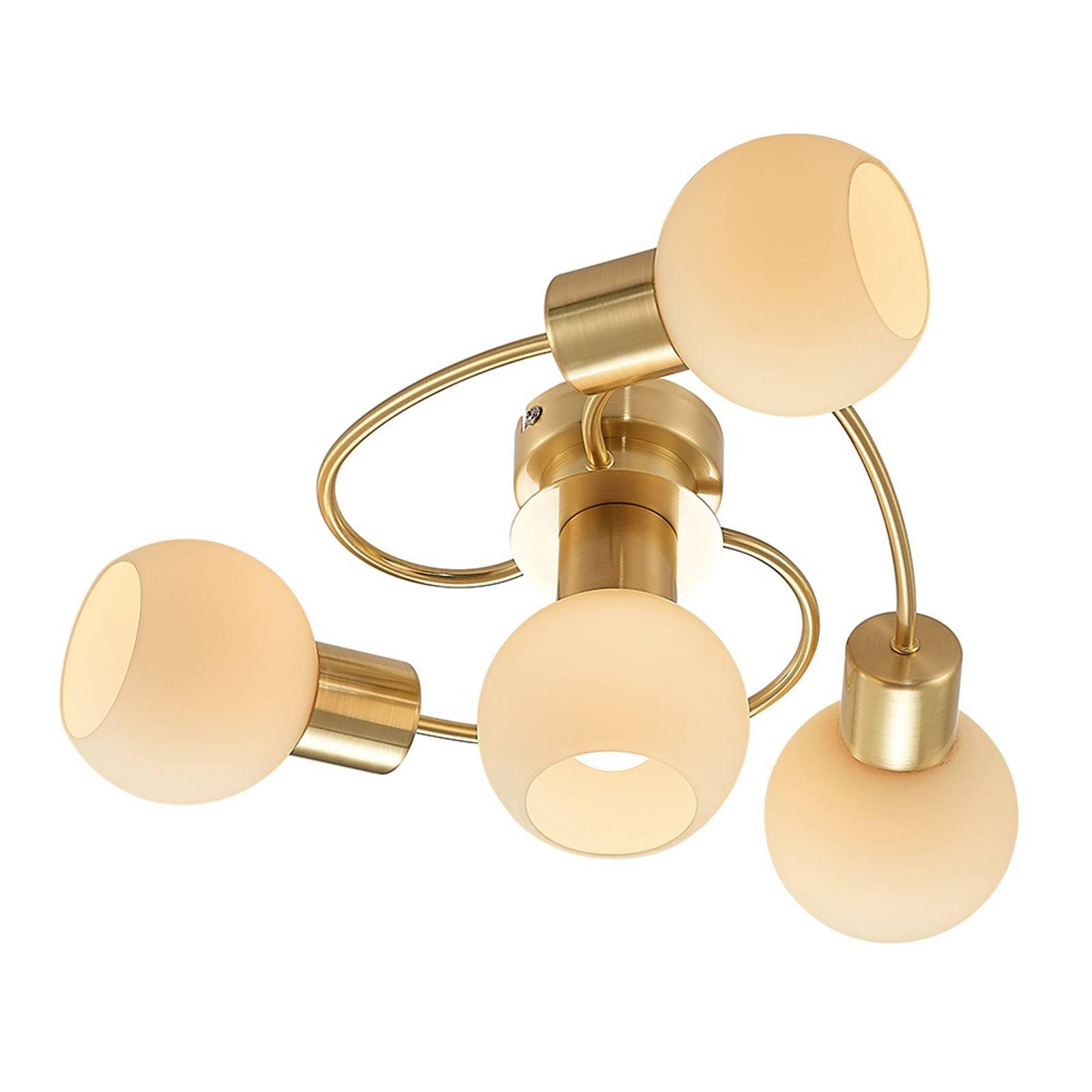 Lindby-LED-kattovalaisin Ciala, 4-lamp. messinki
