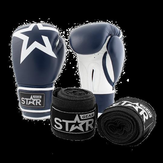 Star Gear Leather Boxing Gloves, Patriot Blue + få Hand Wraps på köpet