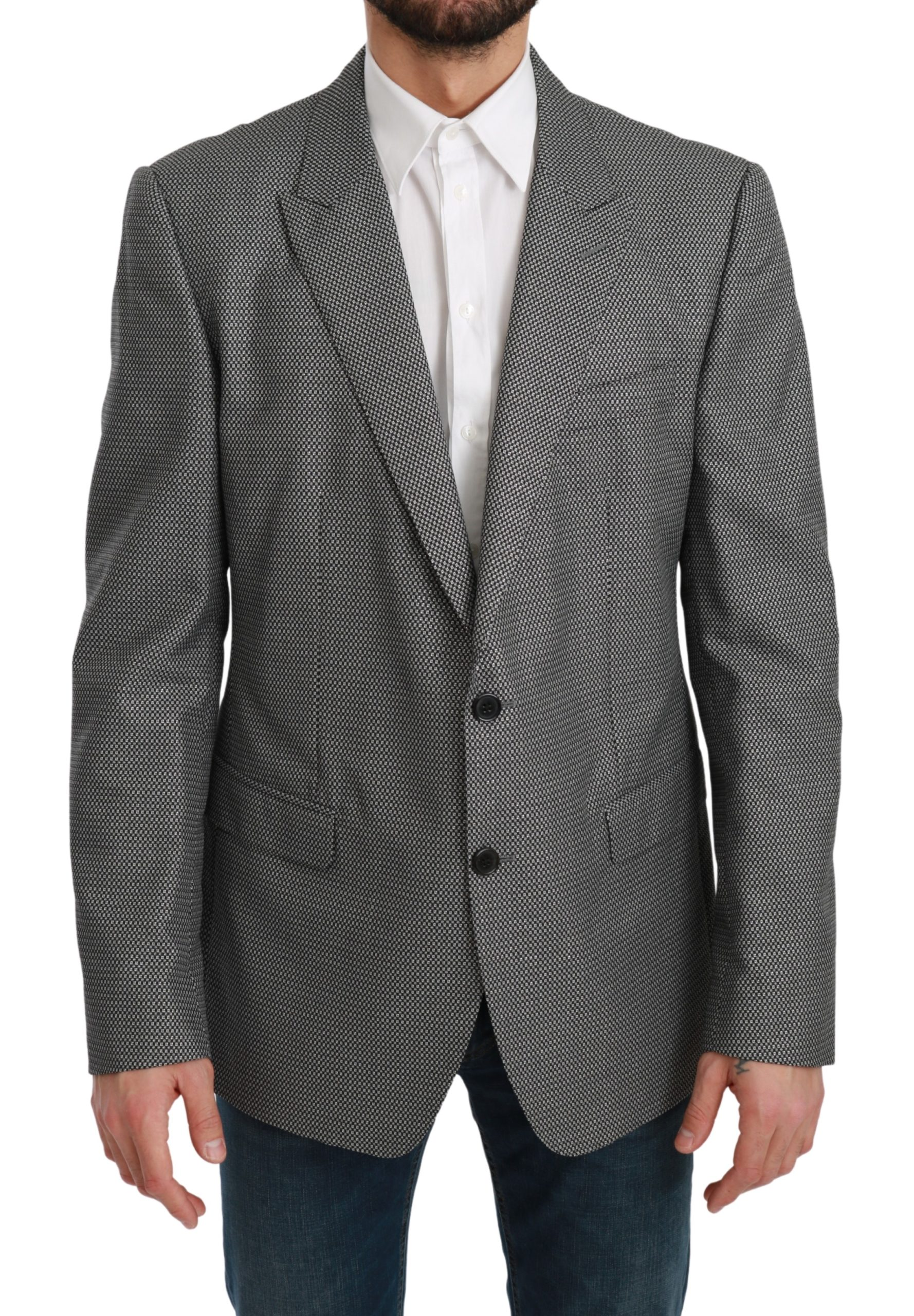 Dolce & Gabbana Men's Slim Fit Formal MARTINI Blazer Gray KOS1713 - IT54 | XL