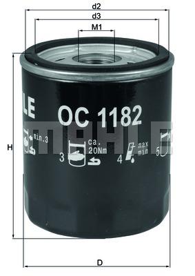 Öljynsuodatin MAHLE ORIGINAL OC 1182
