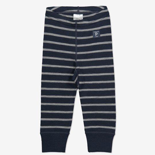 Merinoull stripet bukse baby mørkblå