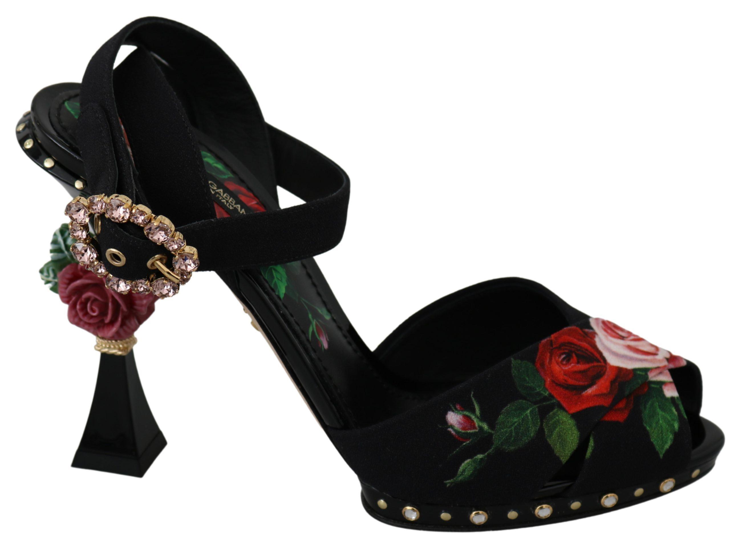 Black Sandals Roses Crystal Heels Shoes - EU38.5/US8