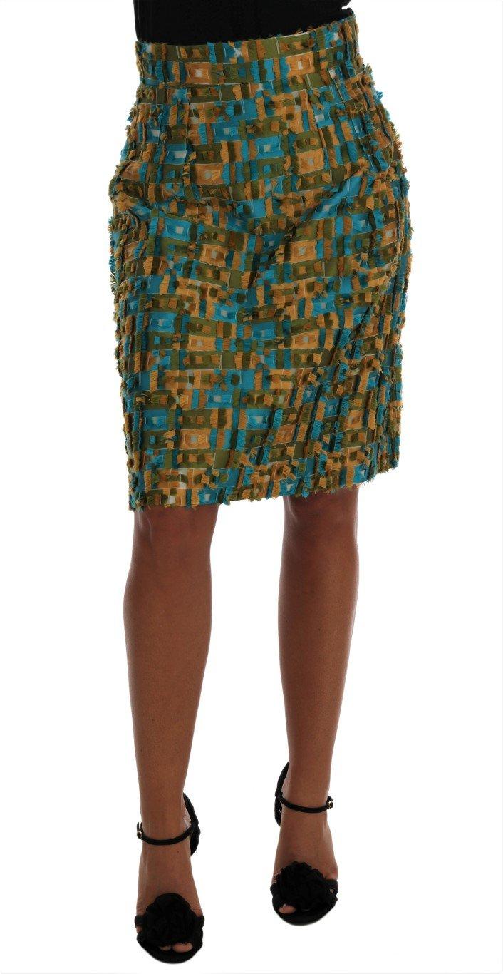 Dolce & Gabbana Women's Jacquard Straight Pencil Skirt Multicolor SKI1031 - IT44|L