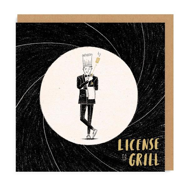Licence to Grill Square Greeting Card