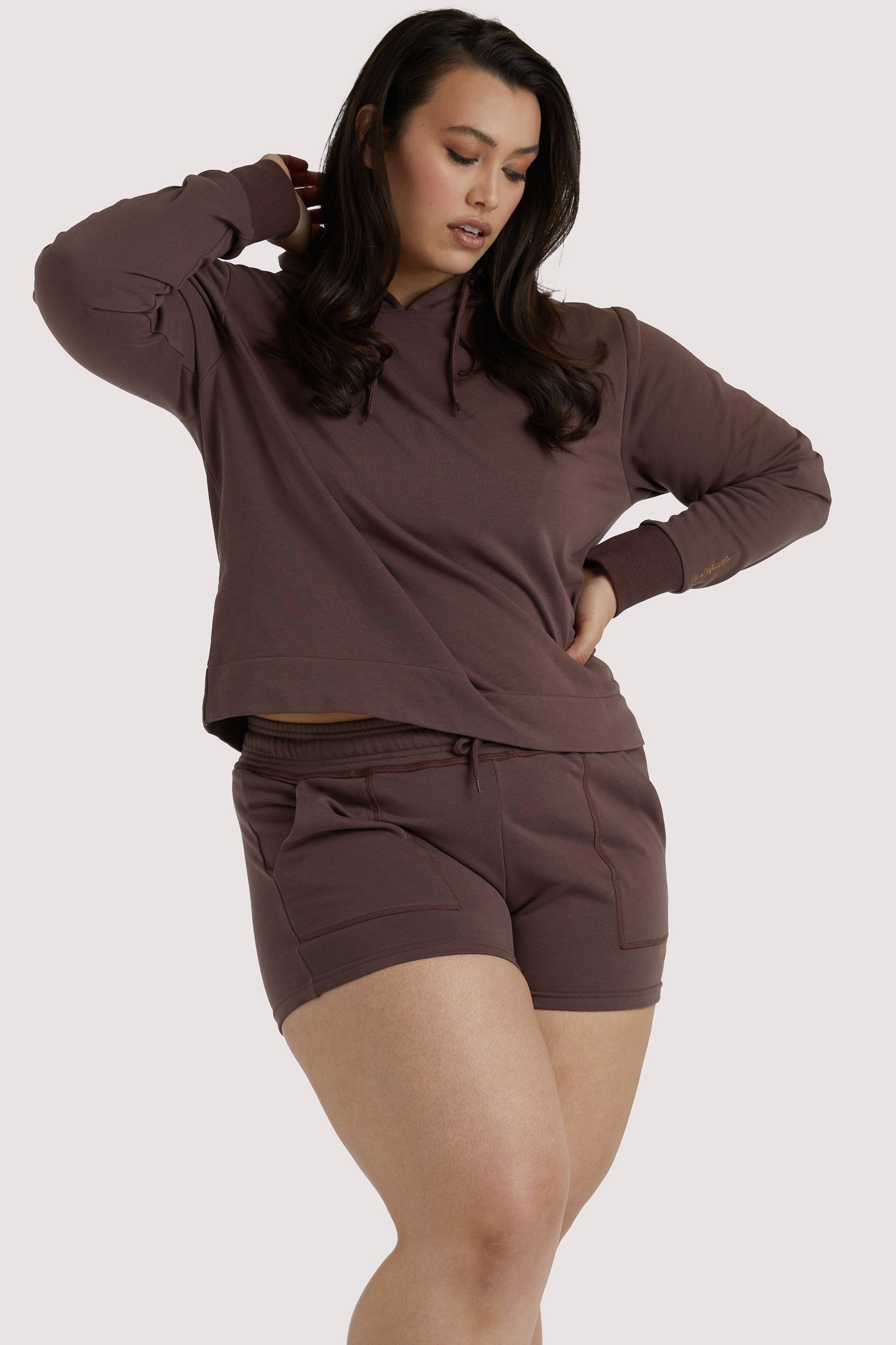Wolf & Whistle Brown Curve Hooded Top UK 18 / US 14