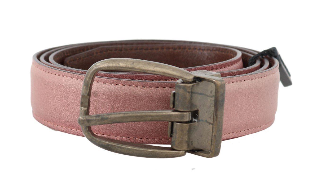 Dolce & Gabbana Men's Shiny Leather Vintage Buckle Belt Pink BEL50023 - 100 cm / 40 Inches