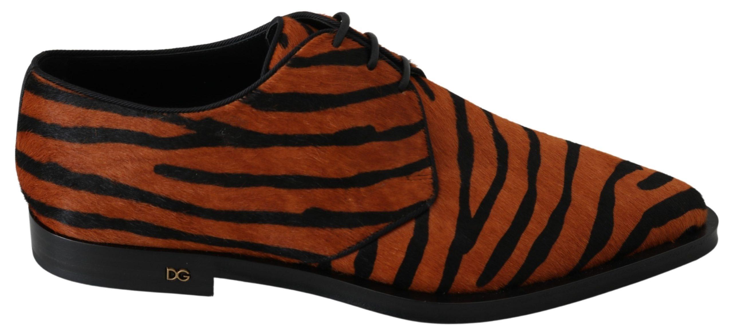 Orange Pony Hair Formal Dress Broque Shoes - EU39/US8.5