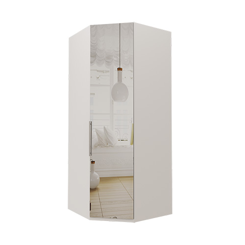 Hjørne Atlanta garderobe 236 cm, Speil, Hvit