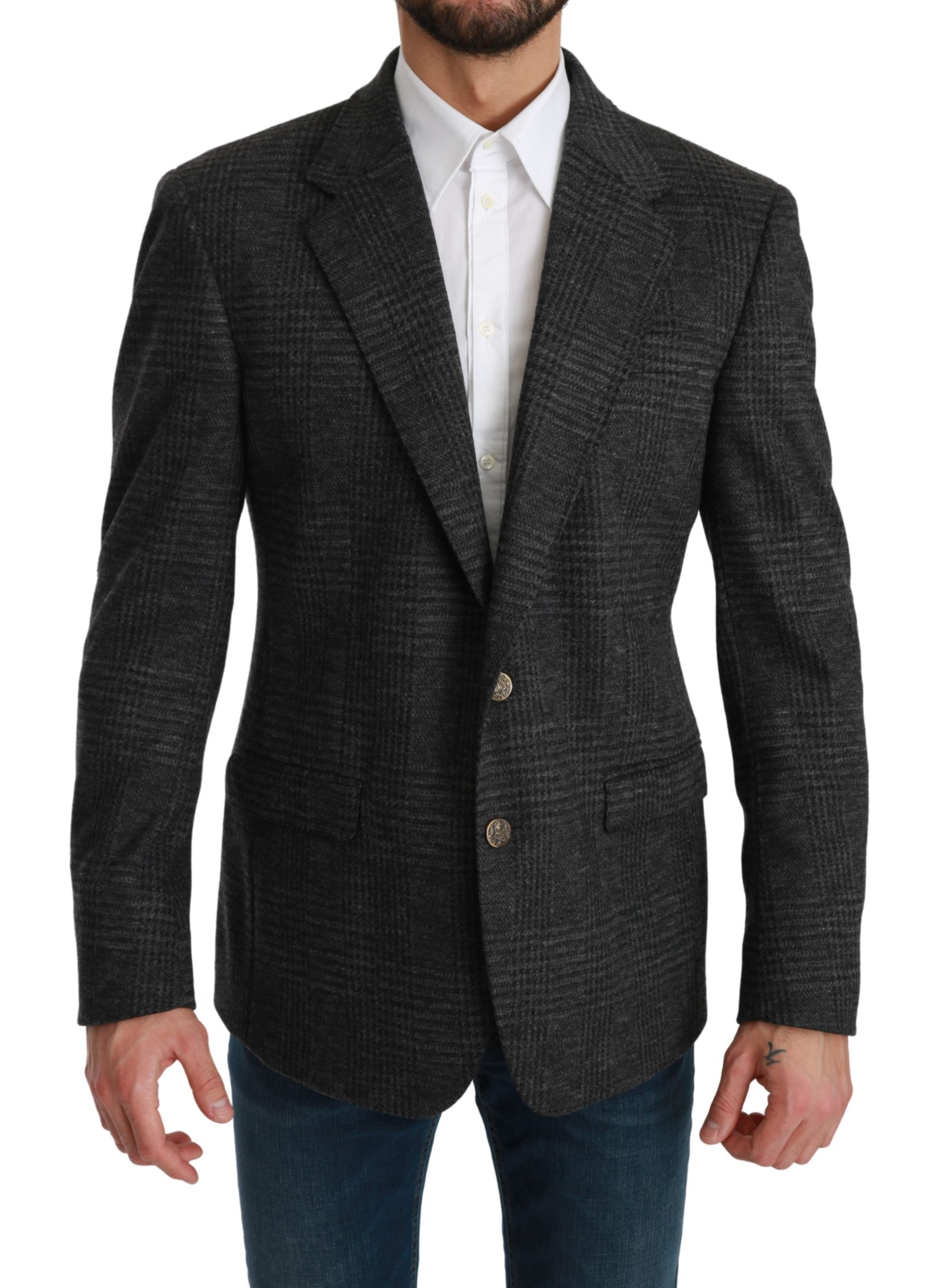 Dolce & Gabbana Men's Plaid Check Wool Formal Blazer Gray KOS1780 - IT48 | M