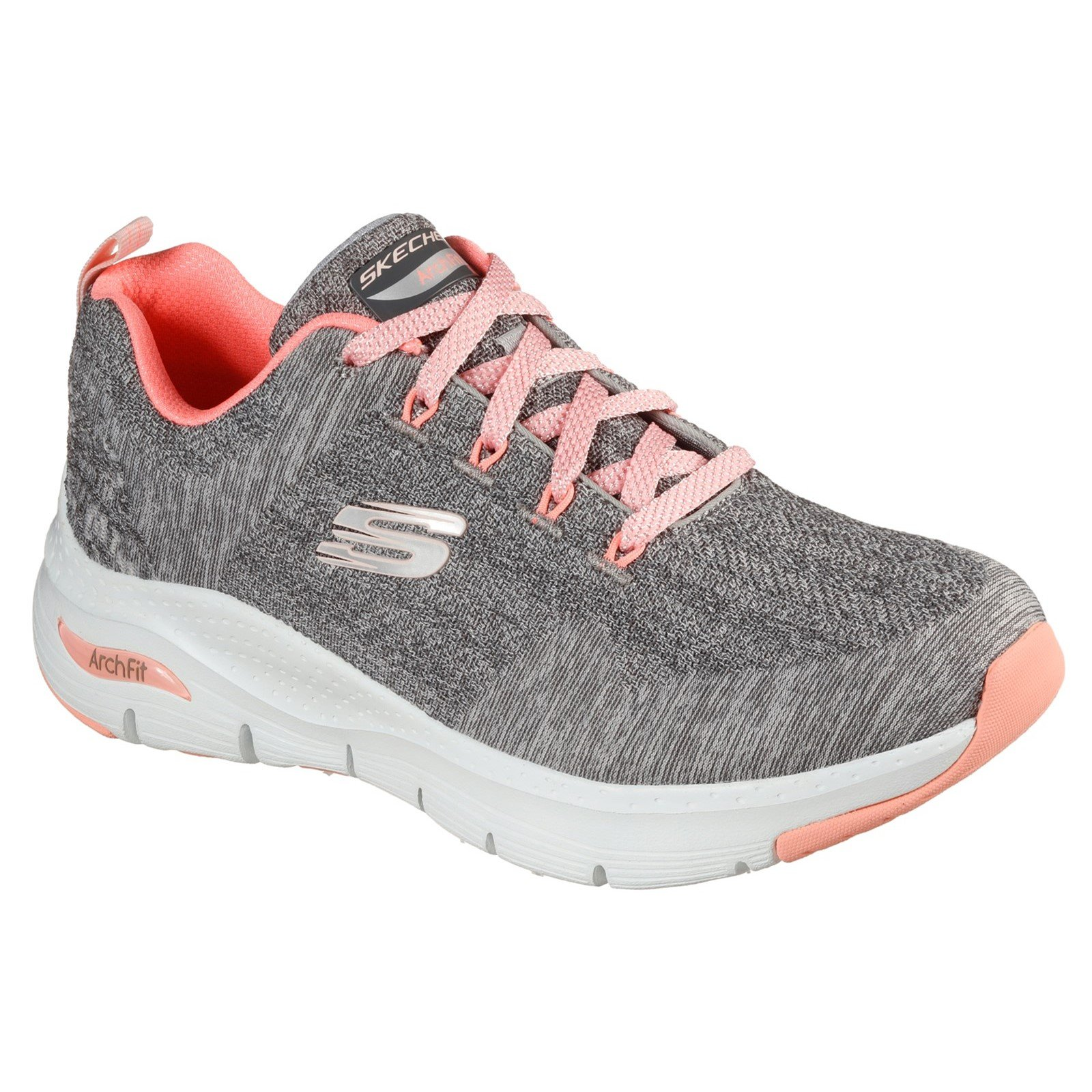 Skechers Women's Arch Fit Comfy Wave Wide Trainer Multicolor 33065 - Grey/Pink 8