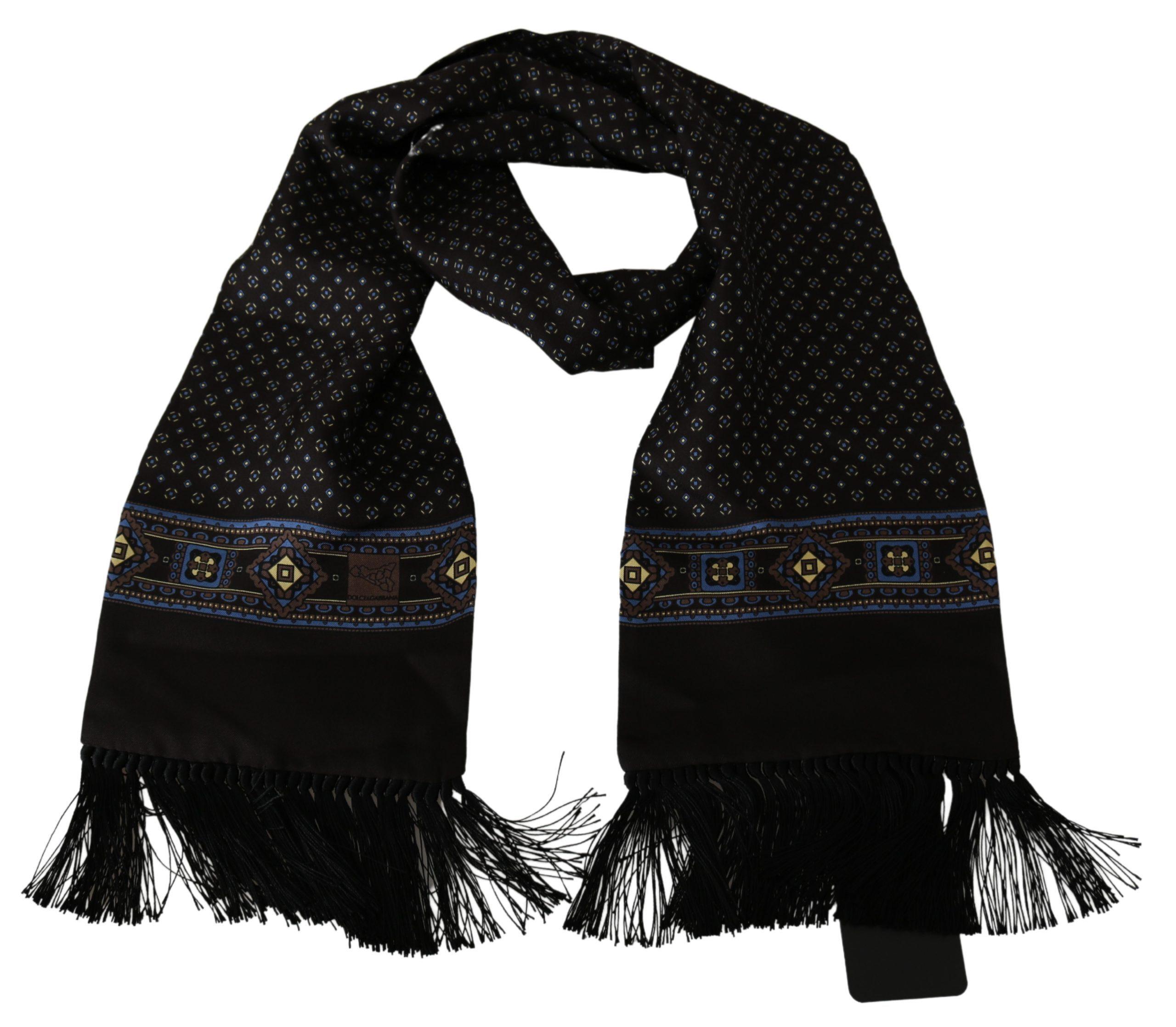 Dolce & Gabbana Men's Baroque Wrap Silk Scarf Brown MS1726