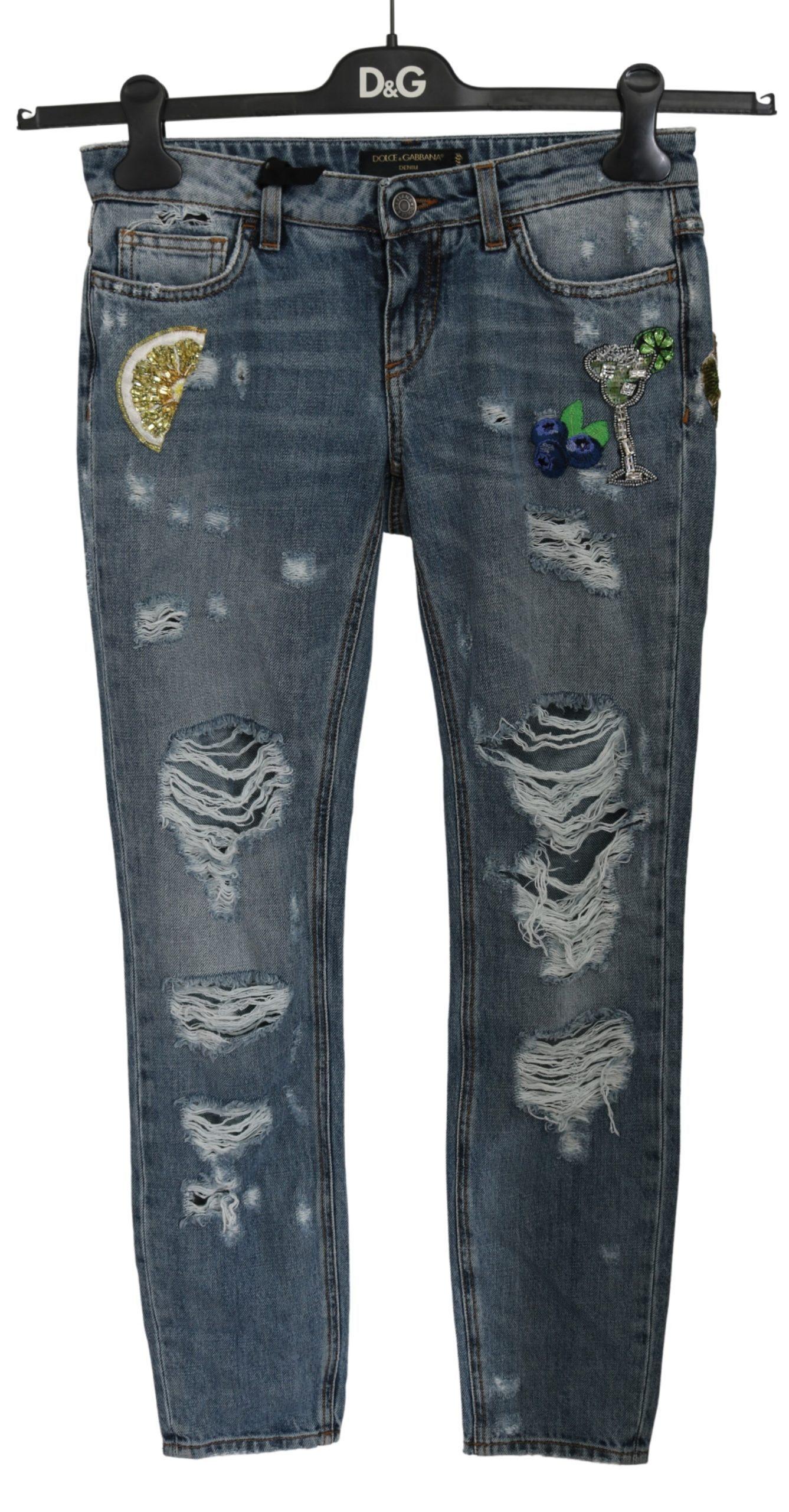 Dolce & Gabbana Women's Ripped PRETTY Cotton Jeans PAN61184 - IT36   XS
