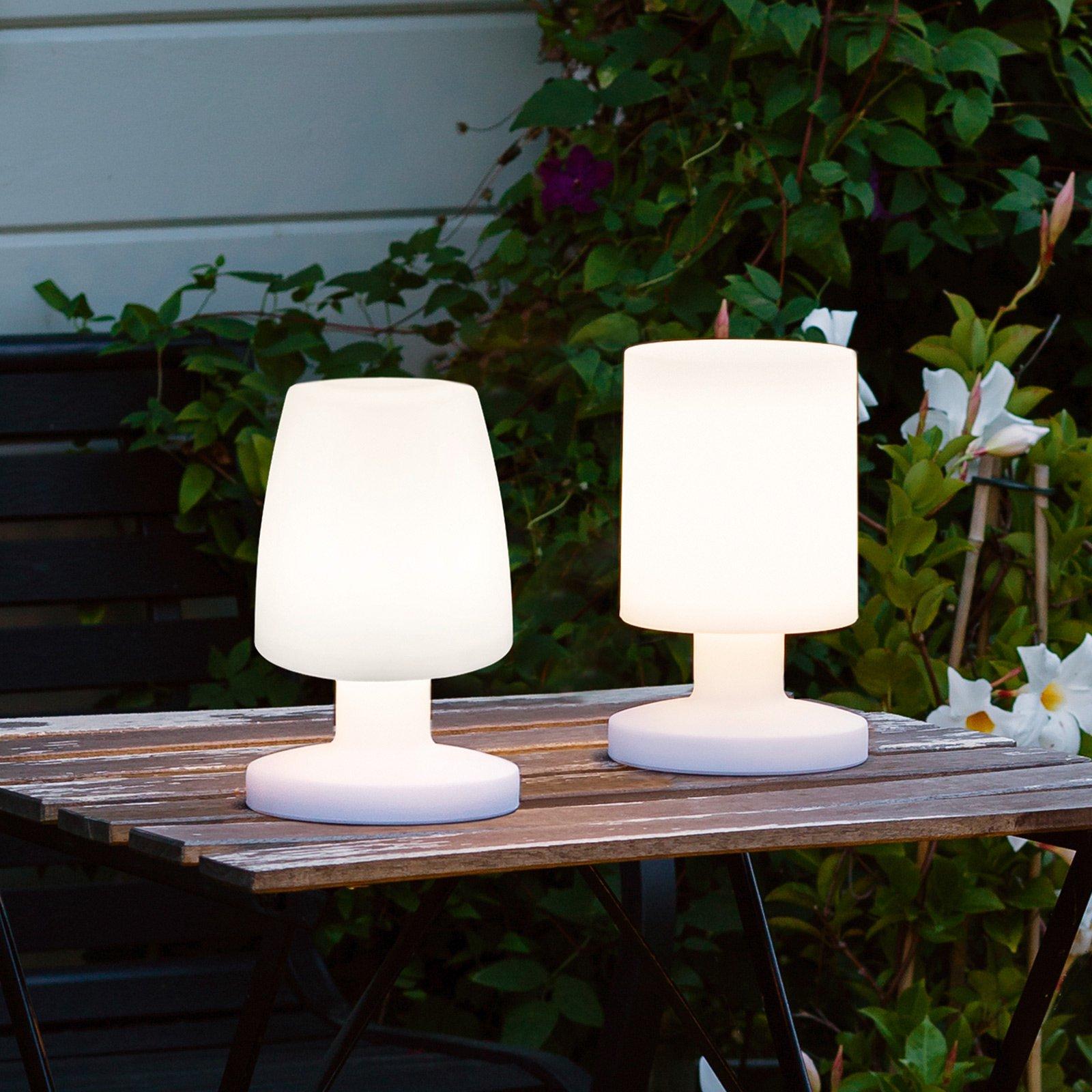 LED-bordlampe Dora, batteridrift for utendørs bruk