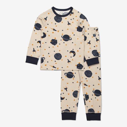 Todelt pyjamas med planettrykk beige