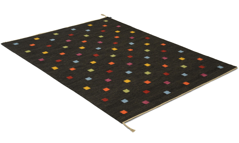 Rosendal svart multi - håndvevd ullteppe