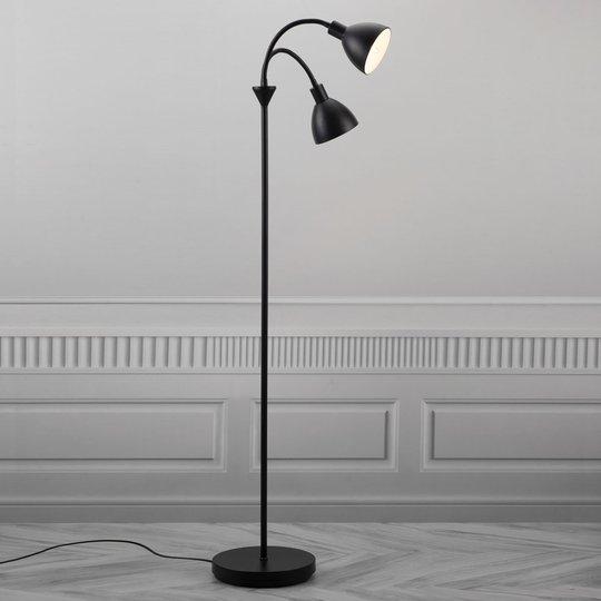 2-lamppuinen lattiavalaisin Ray mustaa metallia