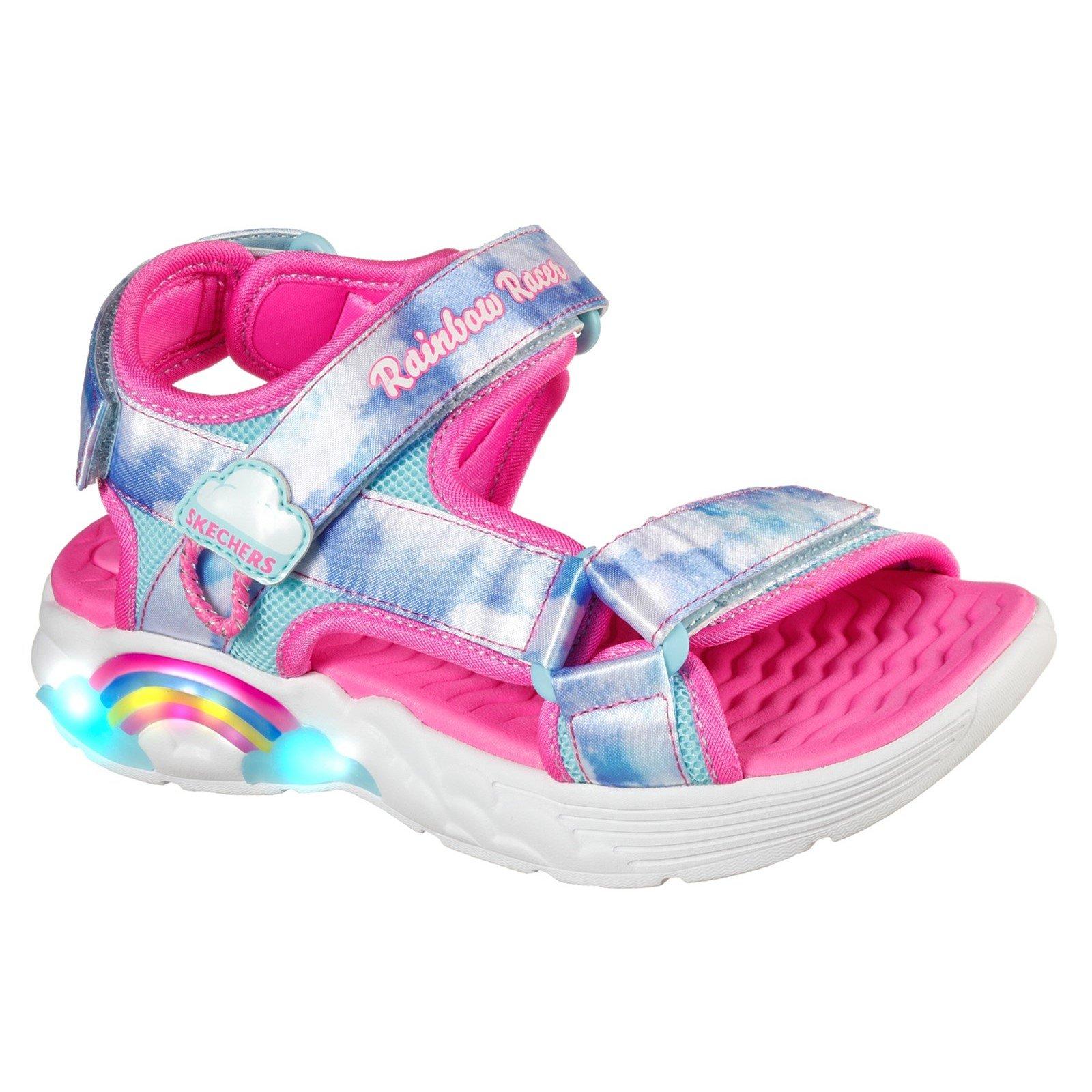 Skechers Unisex Rainbow Racer Summer Sky Beach Sandals Multicolor 32096 - Pink/Blue Textile 2