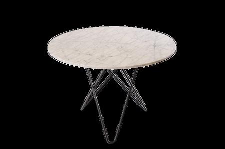 Large O Table Matt Vit Marmor med Svart Ram Ø100