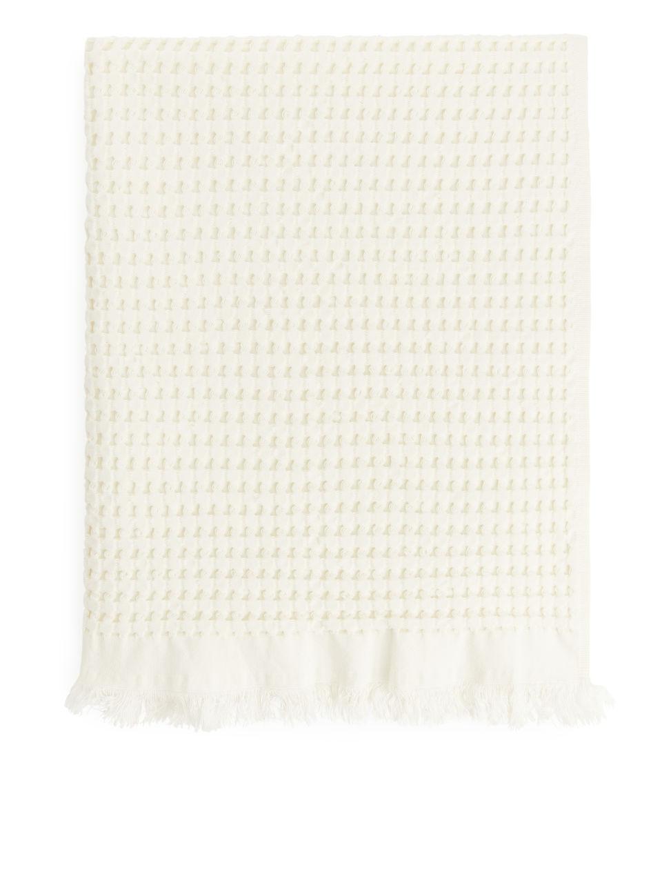 Fringed Waffle Towel 50 x 70 cm - White
