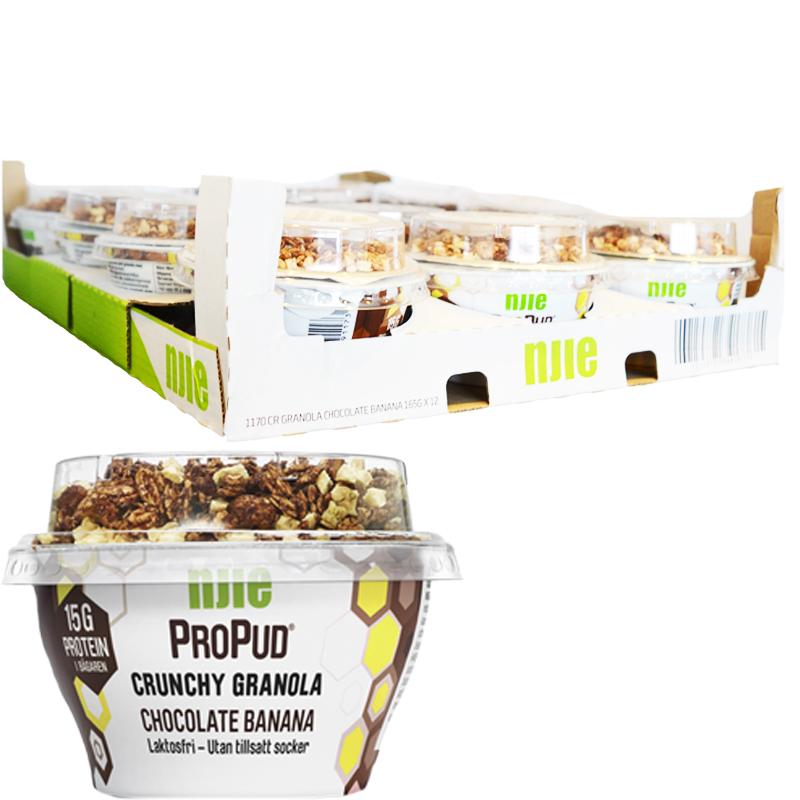"Hel Låda Proteinpudding ""Chocolate & Banana"" 12 x 165g - 58% rabatt"