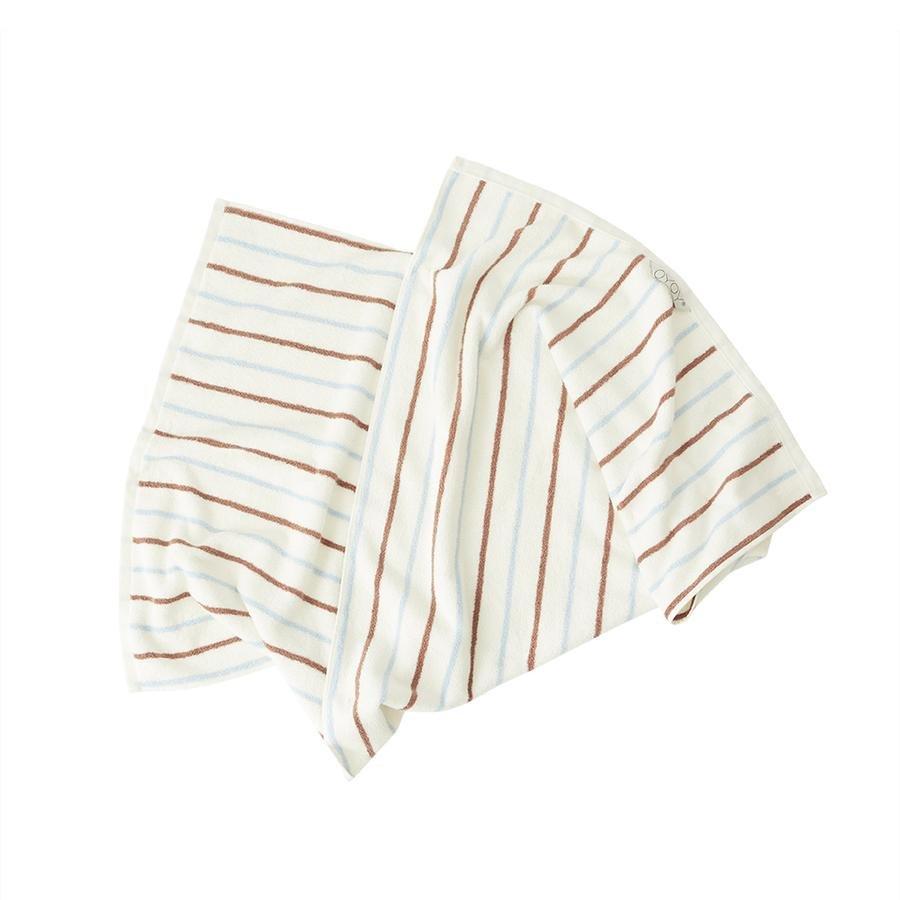 OYOY Living - Raita Organic Bath Towel - 70x140 cm - Caramel / Ice Blue