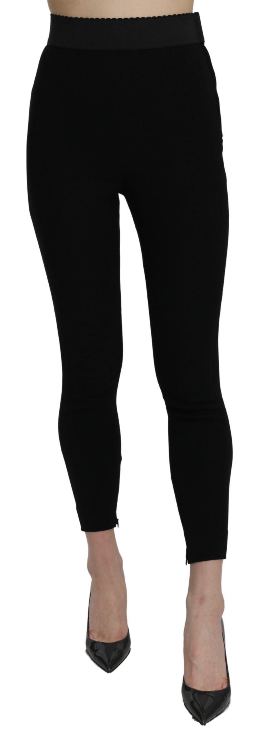 Dolce & Gabbana Women's High Waist Cotton Stretch Leggings Black PAN71081 - IT38 XS