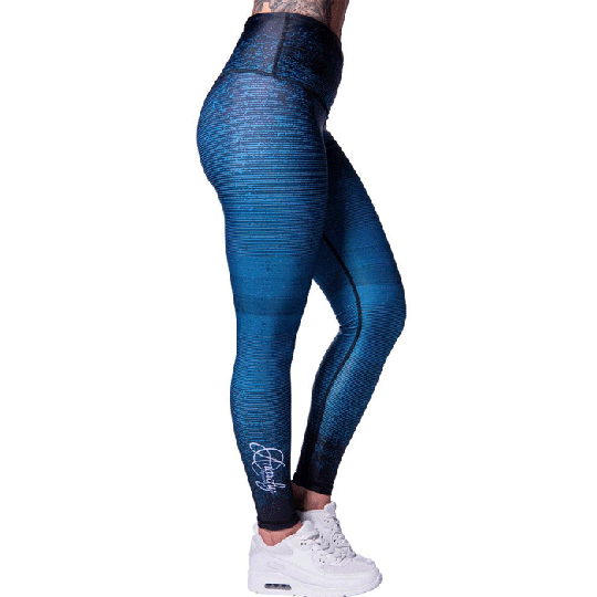 Aqua Stripe Leggings, Black/Turquoise